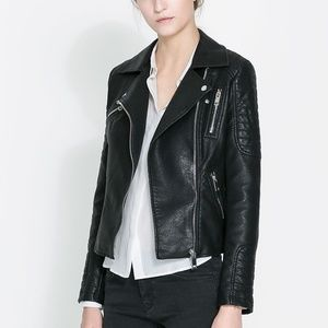 Faux Leather Moto Jacket Small